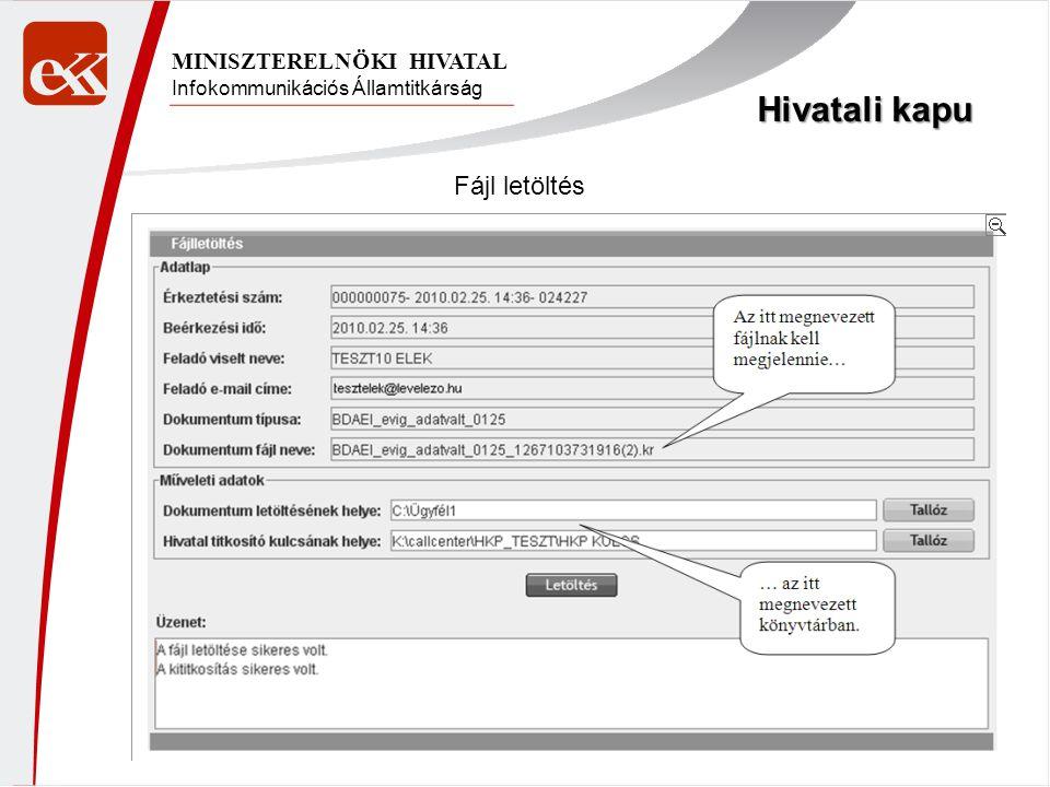 Hivatali kapu Fájl letöltés MINISZTERELNÖKI HIVATAL