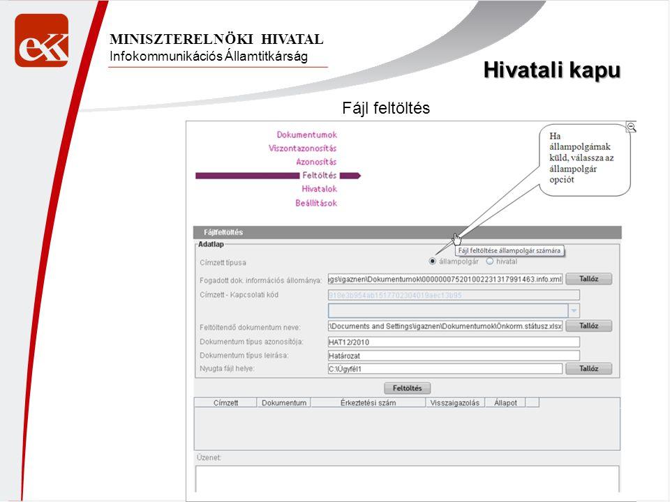 Hivatali kapu Fájl feltöltés MINISZTERELNÖKI HIVATAL