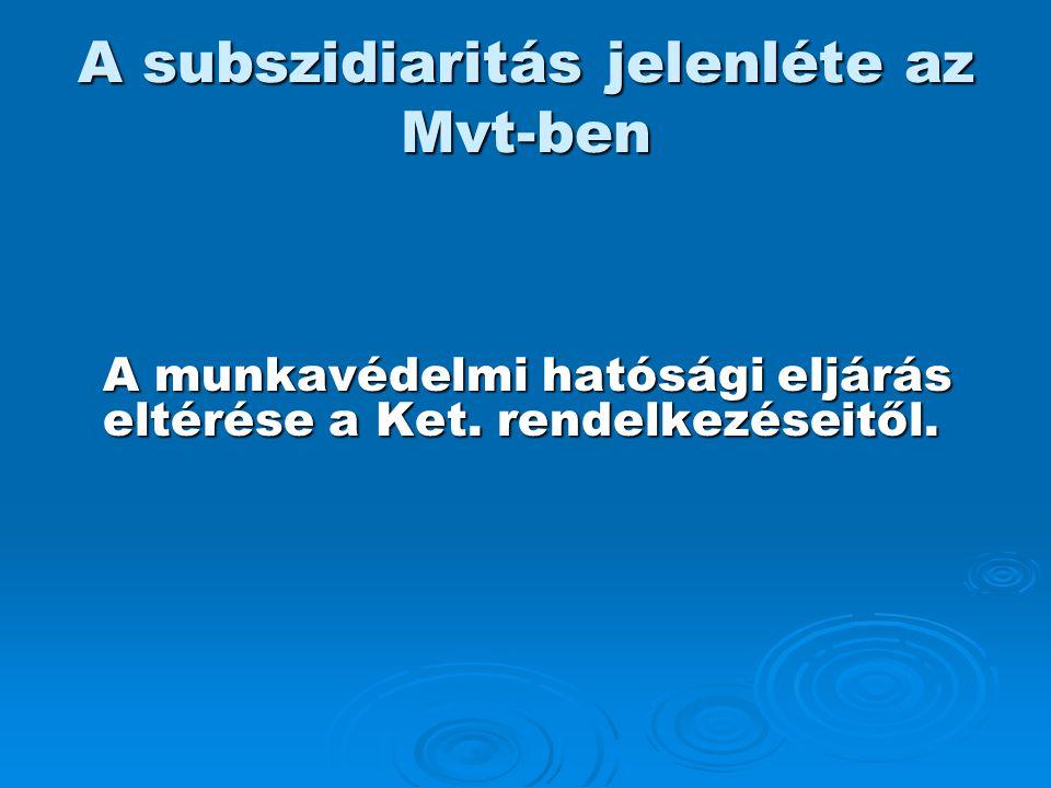 A subszidiaritás jelenléte az Mvt-ben