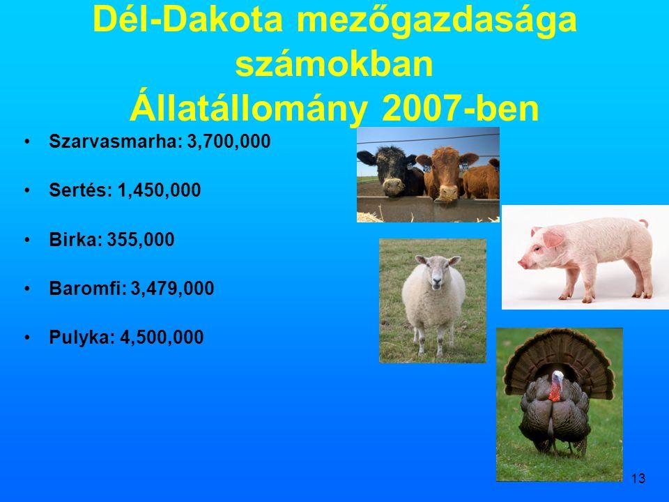 Dél-Dakota mezőgazdasága számokban Állatállomány 2007-ben