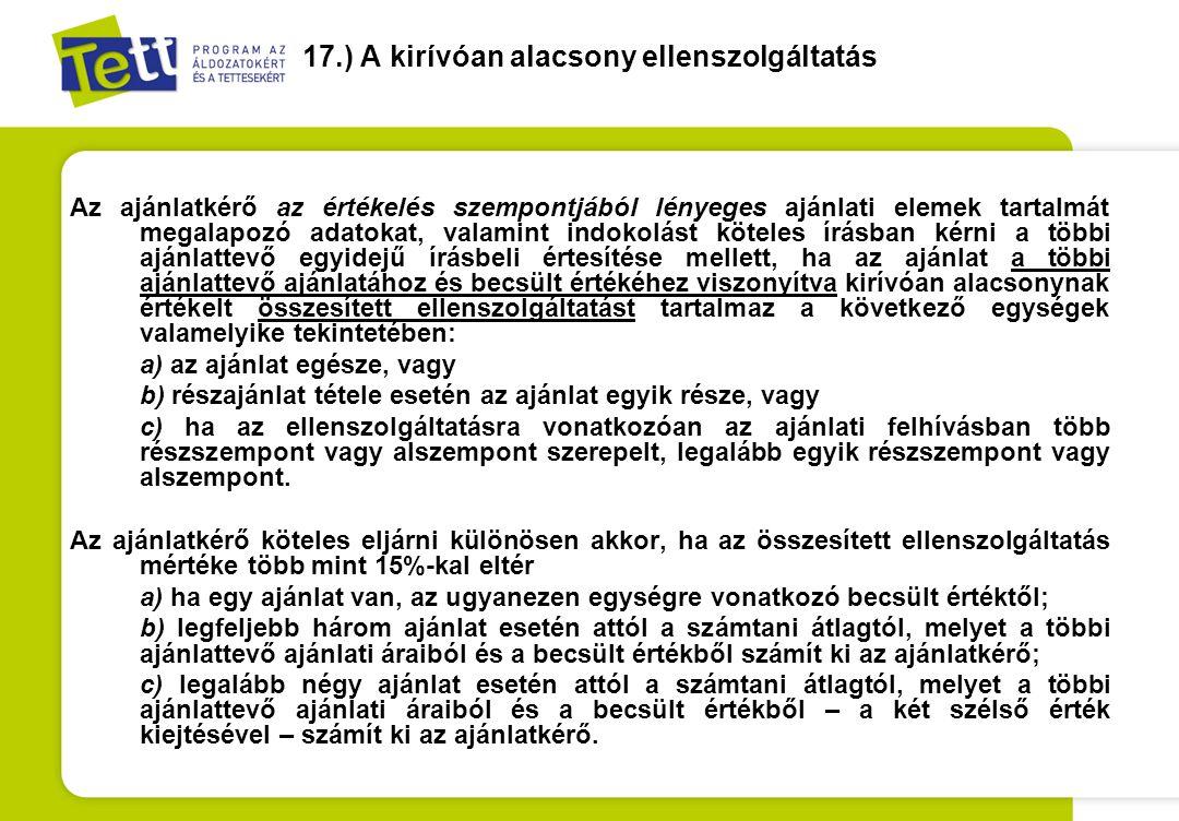 17.) A kirívóan alacsony ellenszolgáltatás