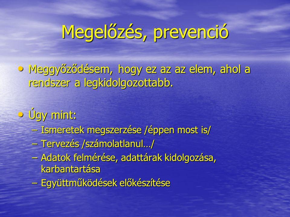 Megelőzés, prevenció Meggyőződésem, hogy ez az az elem, ahol a rendszer a legkidolgozottabb. Úgy mint: