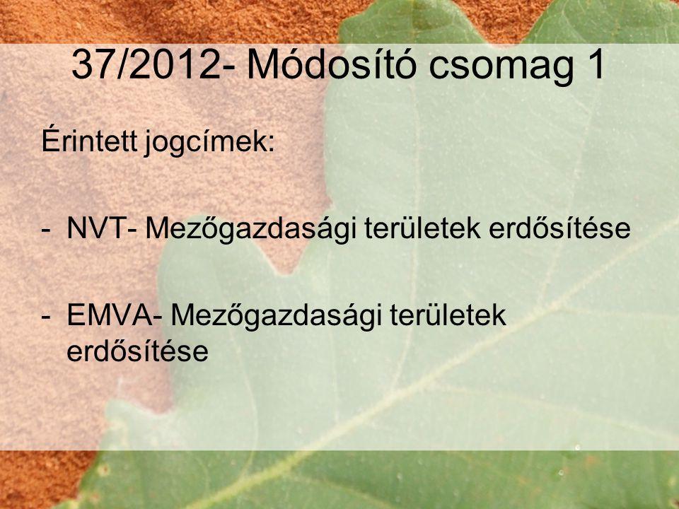 37/2012- Módosító csomag 1 Érintett jogcímek: