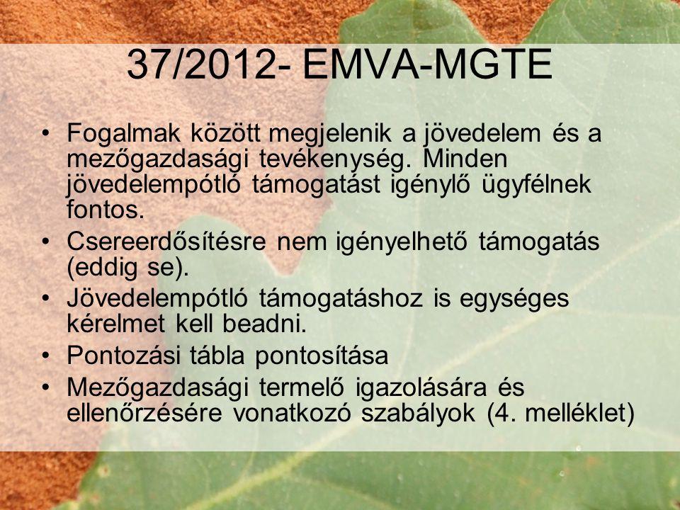 37/2012- EMVA-MGTE Fogalmak között megjelenik a jövedelem és a mezőgazdasági tevékenység. Minden jövedelempótló támogatást igénylő ügyfélnek fontos.