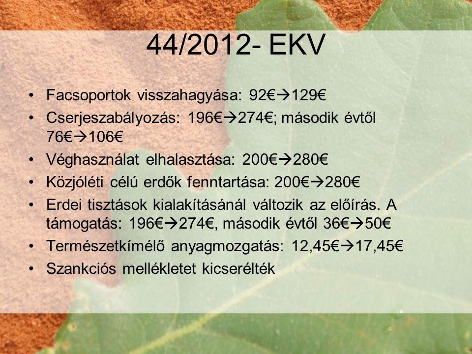 44/2012- EKV Facsoportok visszahagyása: 92€129€