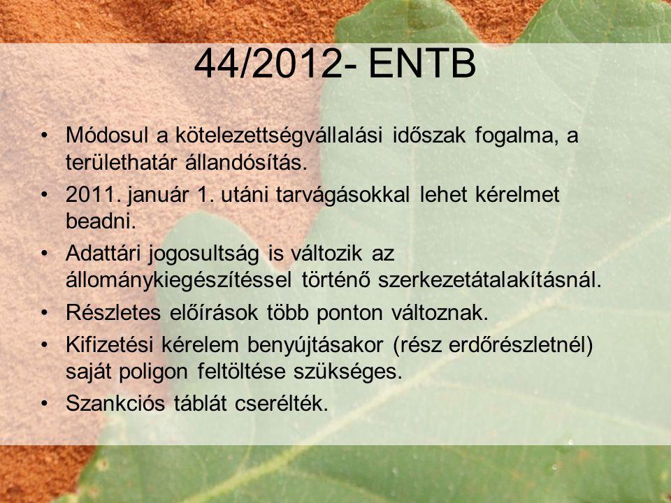 44/2012- ENTB Módosul a kötelezettségvállalási időszak fogalma, a területhatár állandósítás.