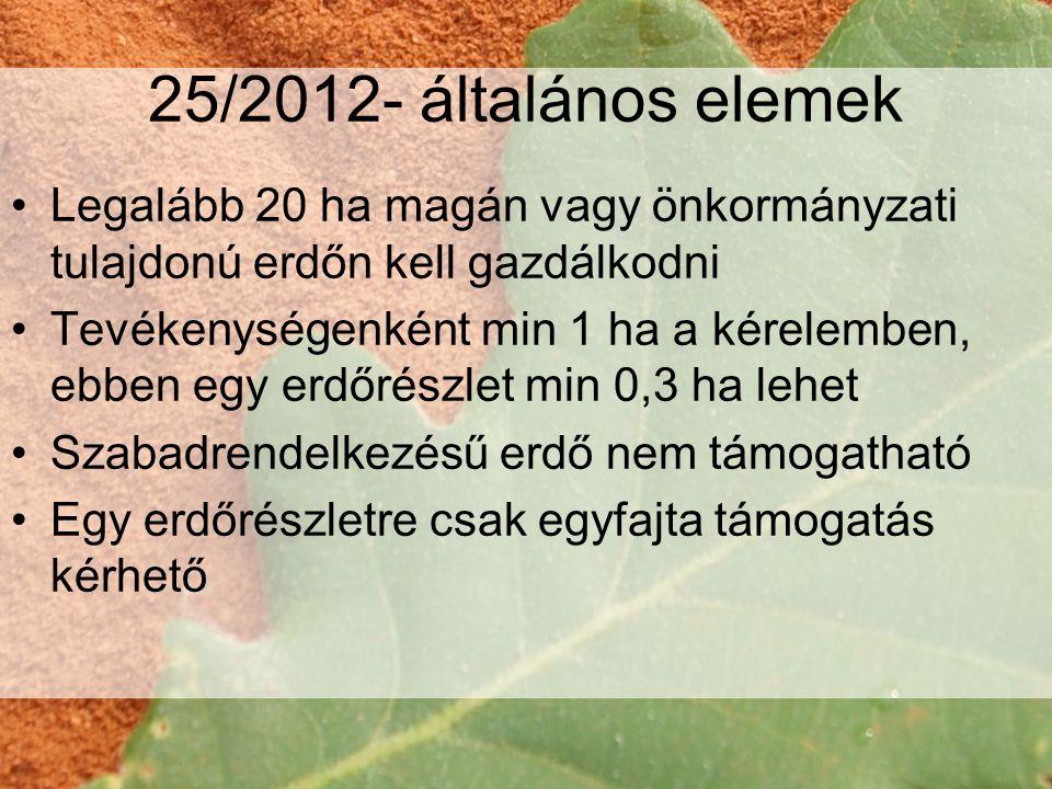 25/2012- általános elemek Legalább 20 ha magán vagy önkormányzati tulajdonú erdőn kell gazdálkodni.