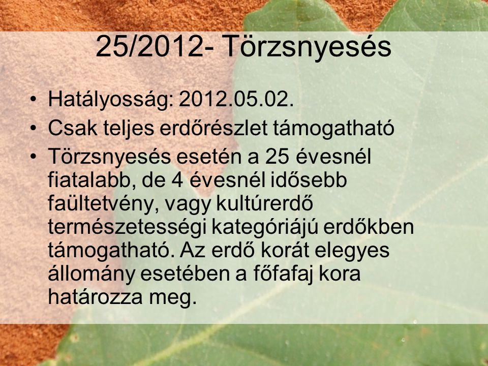 25/2012- Törzsnyesés Hatályosság: 2012.05.02.