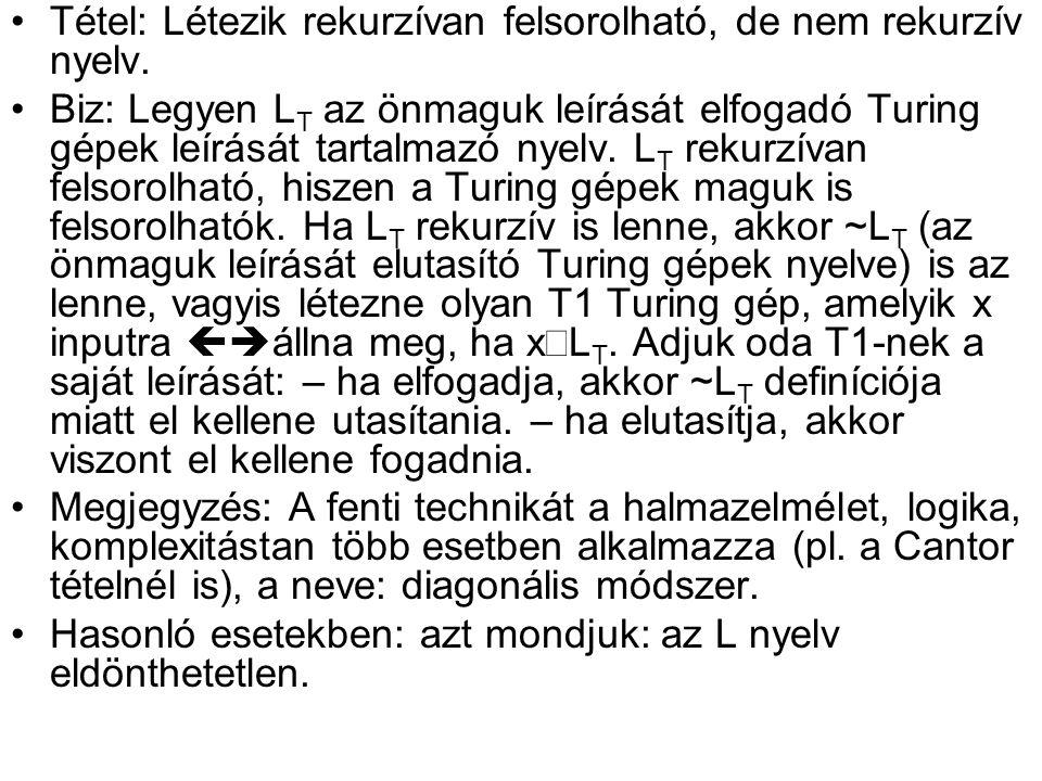 Tétel: Létezik rekurzívan felsorolható, de nem rekurzív nyelv.