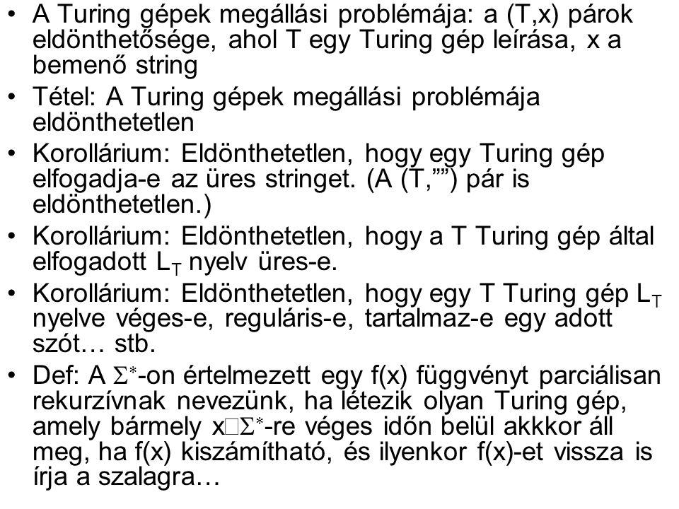 A Turing gépek megállási problémája: a (T,x) párok eldönthetősége, ahol T egy Turing gép leírása, x a bemenő string