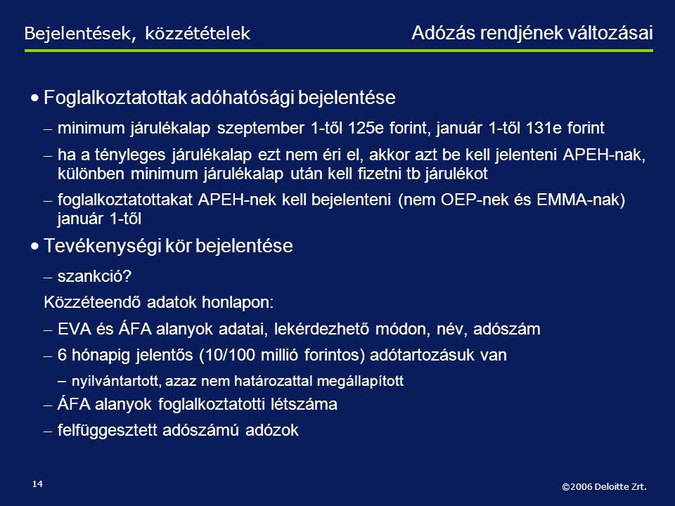 Foglalkoztatottak adóhatósági bejelentése