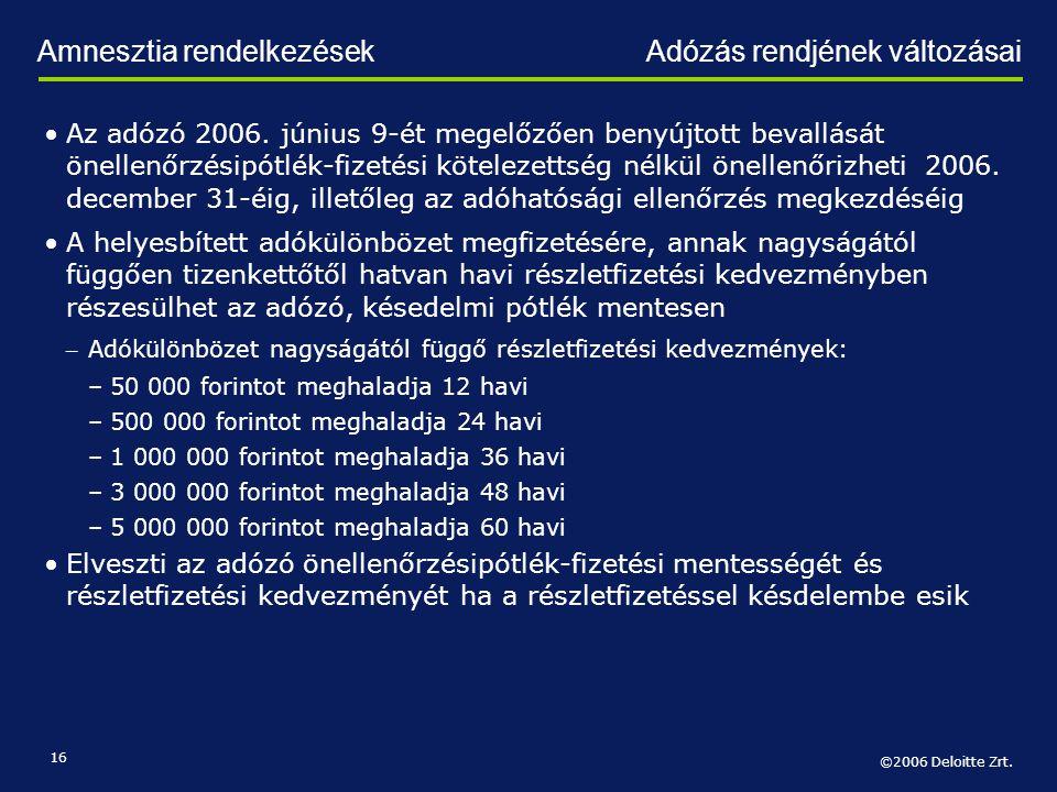 Amnesztia rendelkezések Adózás rendjének változásai