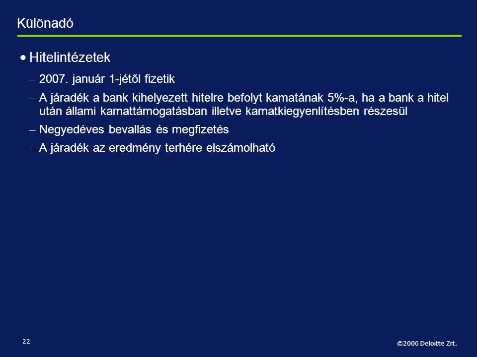 Különadó Hitelintézetek 2007. január 1-jétől fizetik