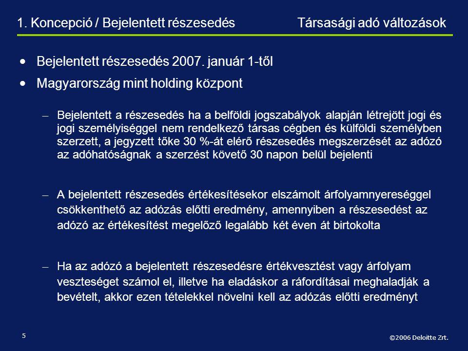 1. Koncepció / Bejelentett részesedés Társasági adó változások