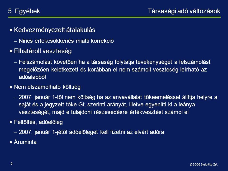 5. Egyébek Társasági adó változások