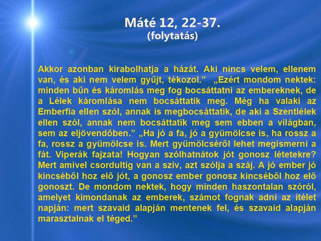 Máté 12, 22-37. (folytatás)