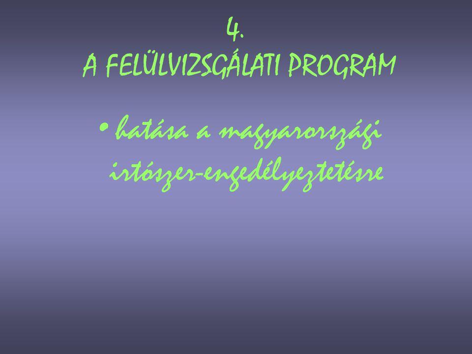 4. A FELÜLVIZSGÁLATI PROGRAM
