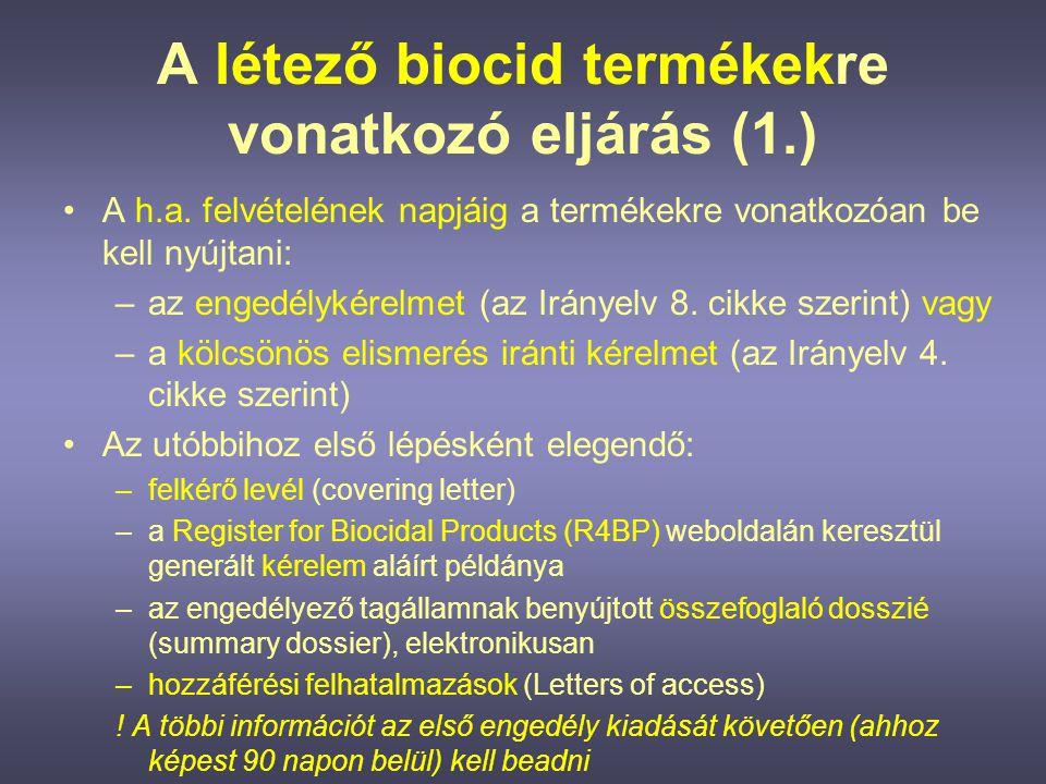 A létező biocid termékekre vonatkozó eljárás (1.)