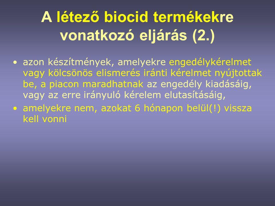 A létező biocid termékekre vonatkozó eljárás (2.)