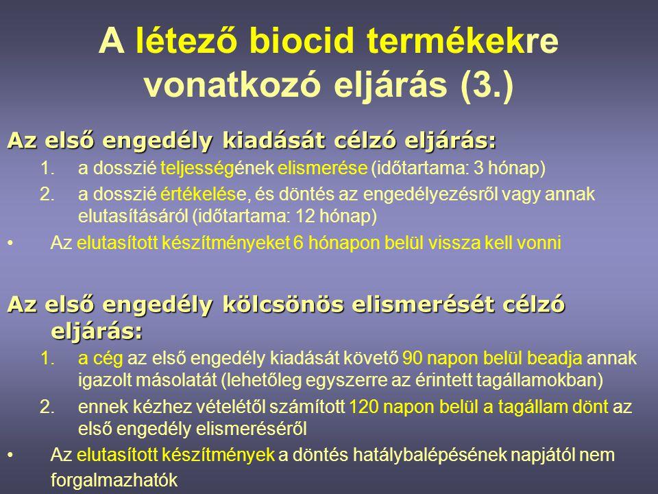 A létező biocid termékekre vonatkozó eljárás (3.)