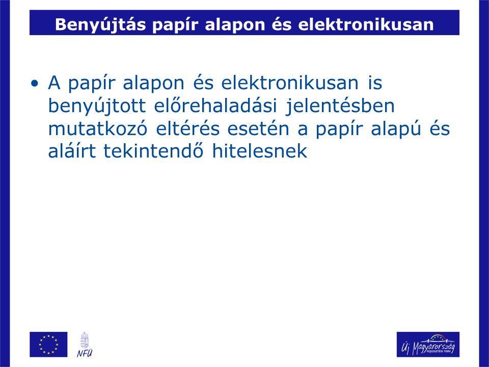 Benyújtás papír alapon és elektronikusan