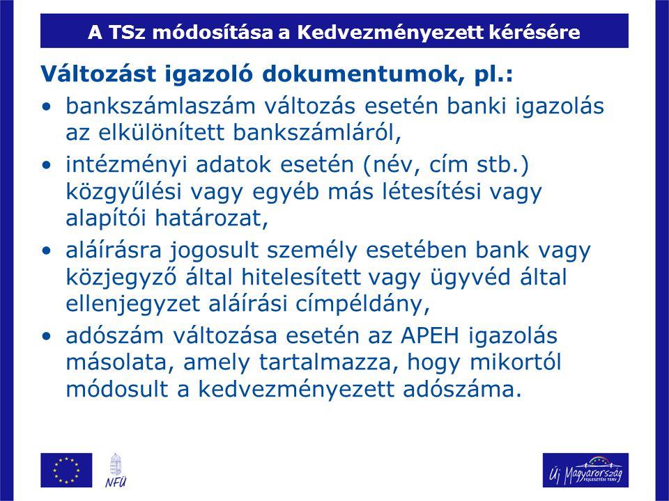 A TSz módosítása a Kedvezményezett kérésére
