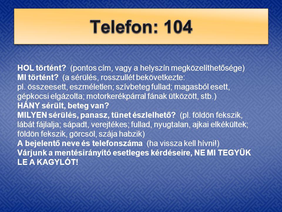 Telefon: 104 HOL történt (pontos cím, vagy a helyszín megközelíthetősége)
