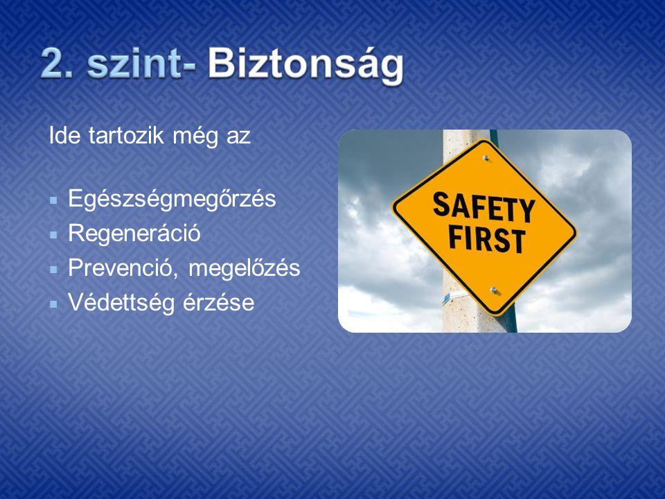 2. szint- Biztonság Ide tartozik még az Egészségmegőrzés Regeneráció