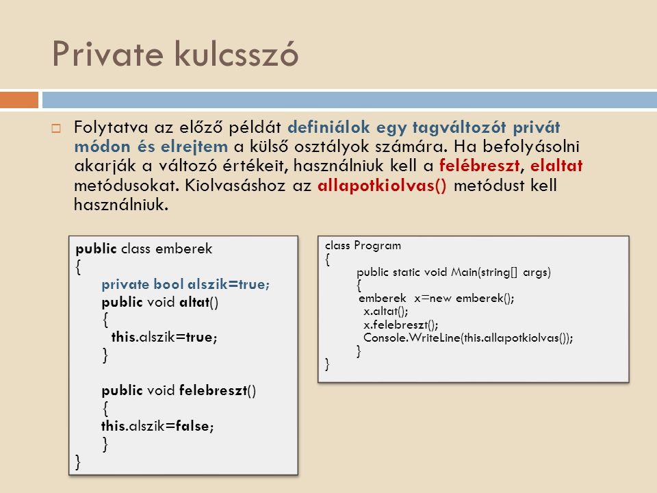 Private kulcsszó