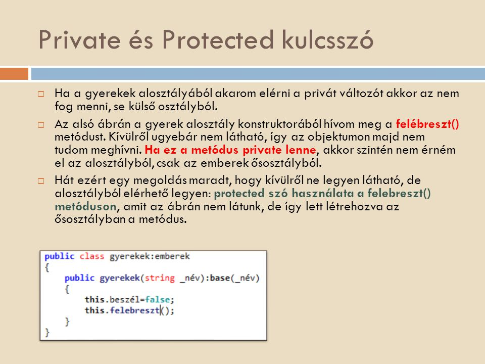 Private és Protected kulcsszó