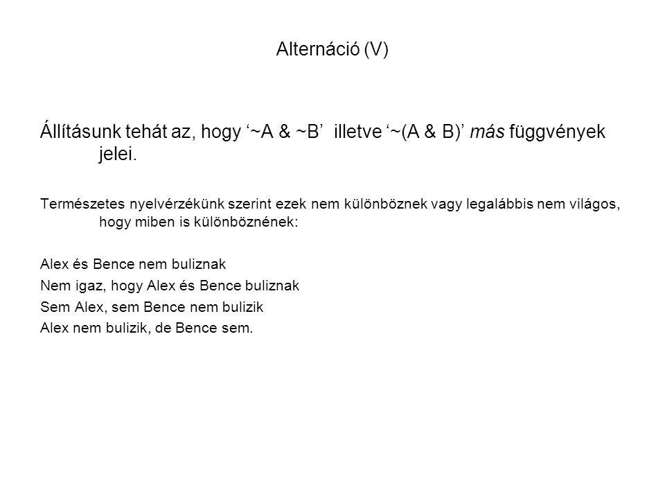 Alternáció (V) Állításunk tehát az, hogy '~A & ~B' illetve '~(A & B)' más függvények jelei.