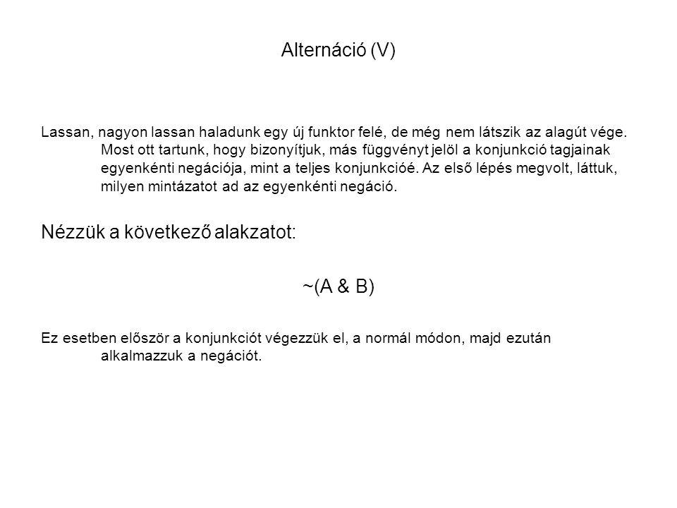 Nézzük a következő alakzatot: ~(A & B)