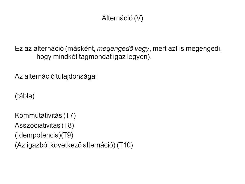 Alternáció (V) Ez az alternáció (másként, megengedő vagy, mert azt is megengedi, hogy mindkét tagmondat igaz legyen).