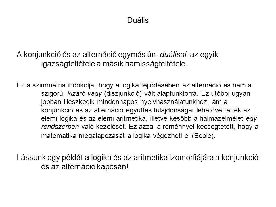 Duális A konjunkció és az alternáció egymás ún. duálisai: az egyik igazságfeltétele a másik hamisságfeltétele.