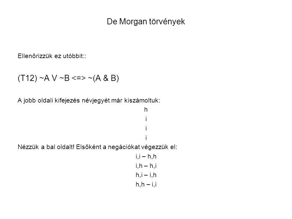 (T12) ~A V ~B <=> ~(A & B)