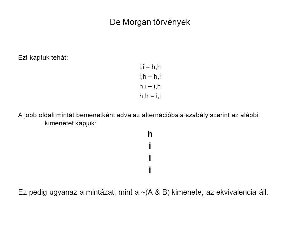 De Morgan törvények Ezt kaptuk tehát: i,i – h,h. i,h – h,i. h,i – i,h. h,h – i,i.