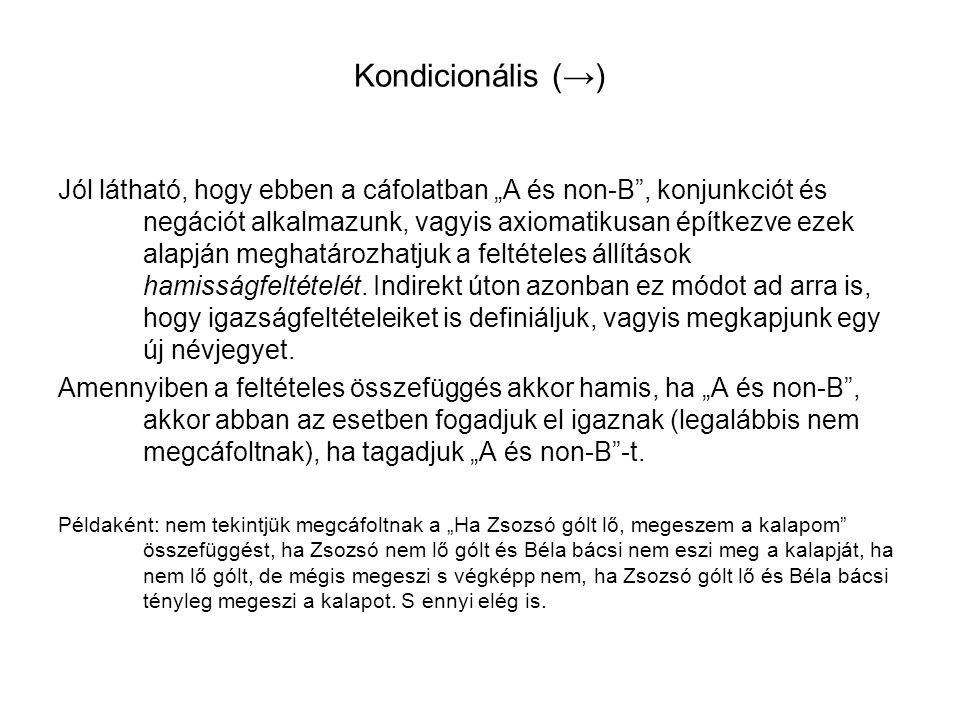 Kondicionális (→)