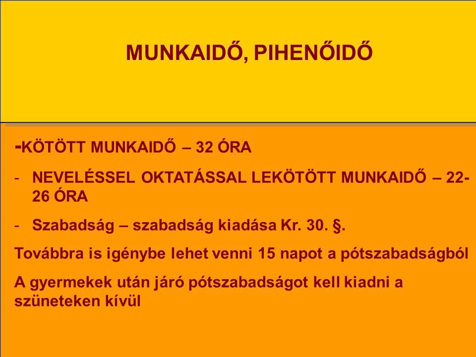 MUNKAIDŐ, PIHENŐIDŐ -KÖTÖTT MUNKAIDŐ – 32 ÓRA