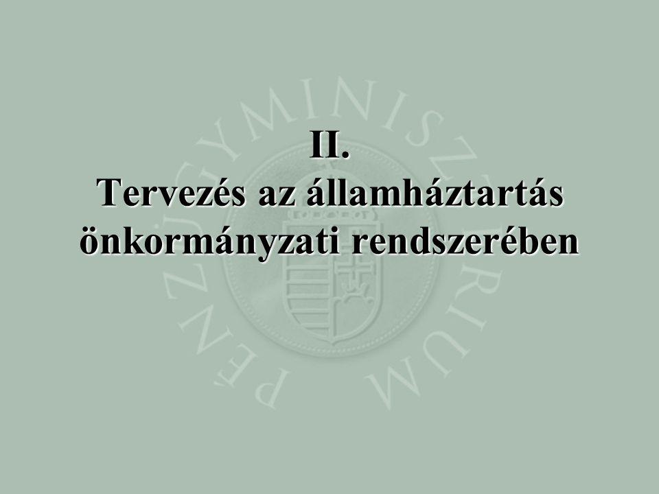 II. Tervezés az államháztartás önkormányzati rendszerében