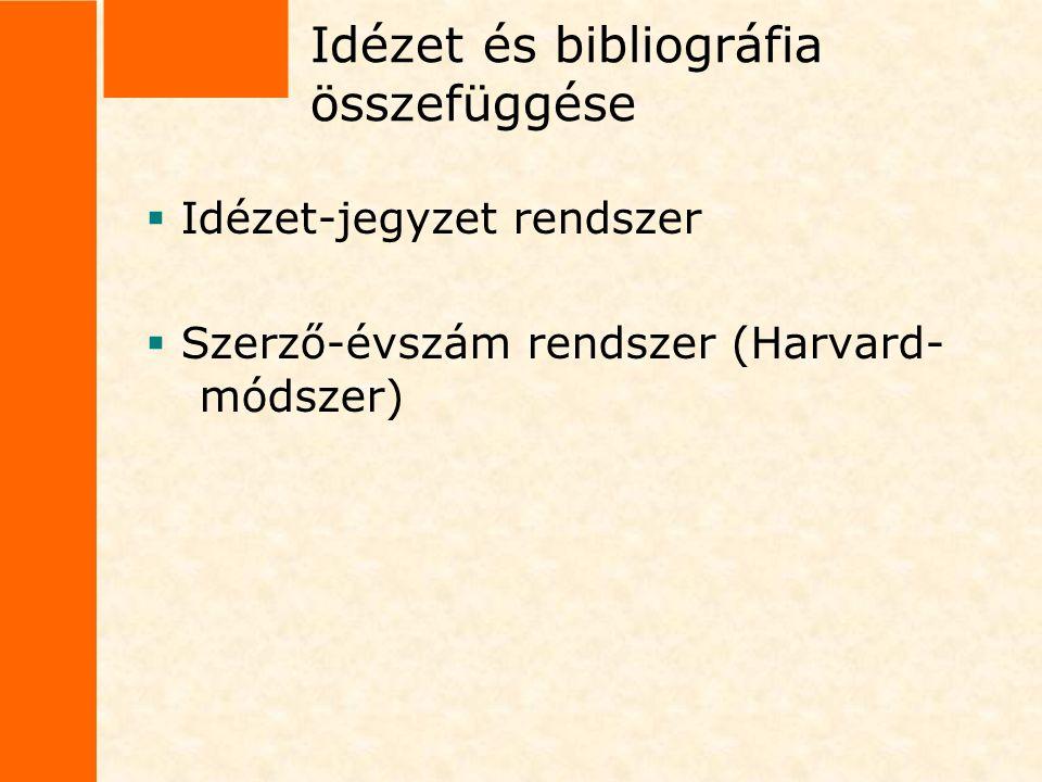 Idézet és bibliográfia összefüggése