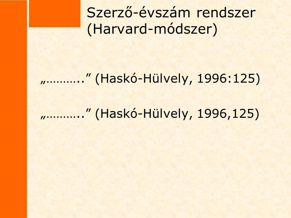 Szerző-évszám rendszer (Harvard-módszer)