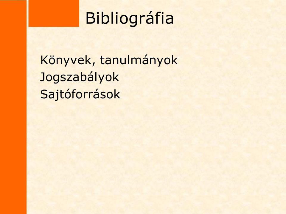 Bibliográfia Könyvek, tanulmányok Jogszabályok Sajtóforrások