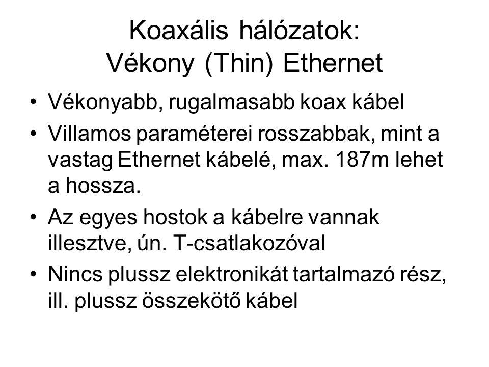 Koaxális hálózatok: Vékony (Thin) Ethernet