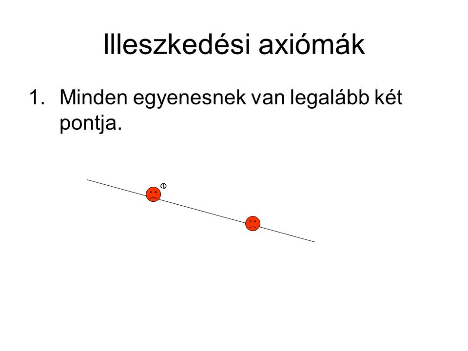 Illeszkedési axiómák Minden egyenesnek van legalább két pontja. e