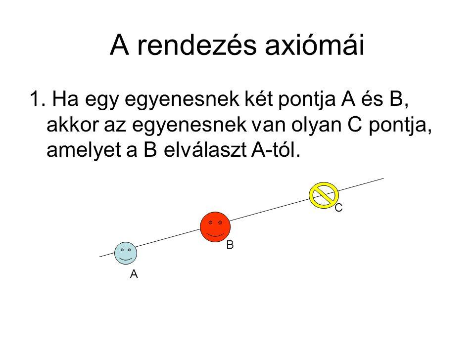 A rendezés axiómái 1. Ha egy egyenesnek két pontja A és B, akkor az egyenesnek van olyan C pontja, amelyet a B elválaszt A-tól.