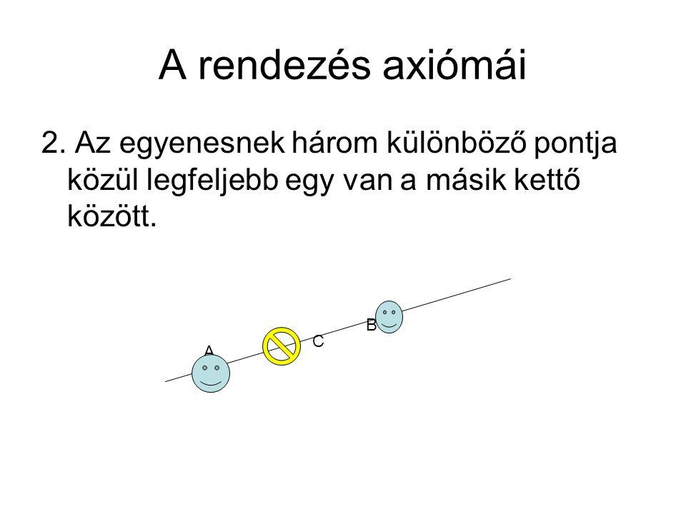 A rendezés axiómái 2. Az egyenesnek három különböző pontja közül legfeljebb egy van a másik kettő között.