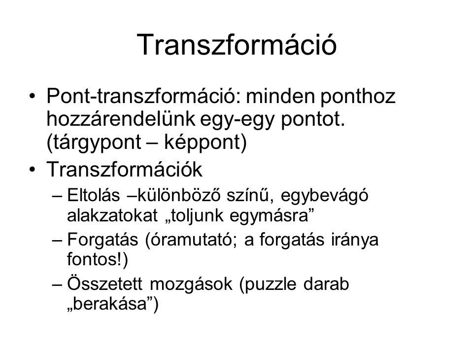 Transzformáció Pont-transzformáció: minden ponthoz hozzárendelünk egy-egy pontot. (tárgypont – képpont)