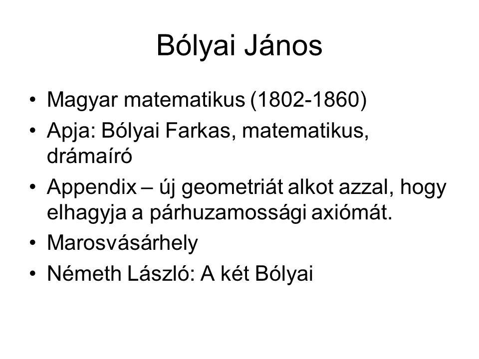 Bólyai János Magyar matematikus (1802-1860)