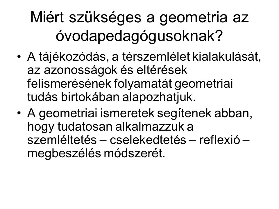 Miért szükséges a geometria az óvodapedagógusoknak