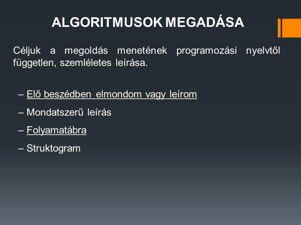 ALGORITMUSOK MEGADÁSA